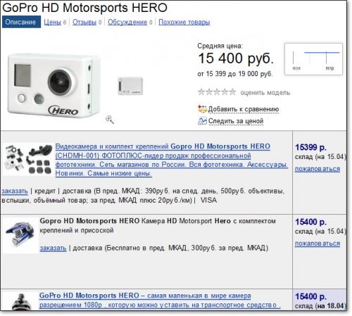 Стоимость камеры GoPro в российских интернет-магазинах