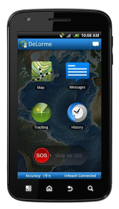 DeLorme inReach может использоваться совместно со смартфоном под управлением Android