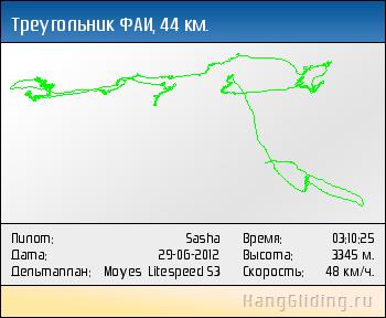 2012-06-29: Треугольник ФАИ, 44 км. Дельтаплан: Moyes Litespeed S3