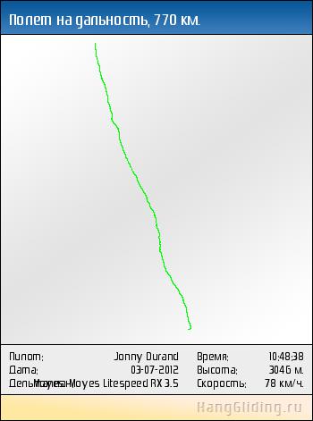 2012-07-03: Полет на дальность, 770 км. Дельтаплан: Moyes Moyes Litespeed RX 3.5