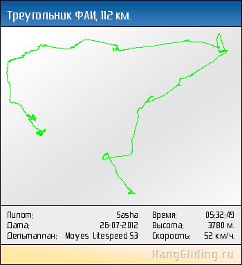 2012-07-26: Треугольник ФАИ, 112 км. Дельтаплан: Moyes Litespeed S3