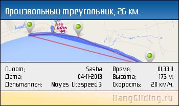 2013-11-04: Произвольный треугольник, 26.25 км. Дельтаплан: Moyes Litespeed 3