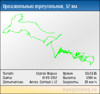 2012-09-01: Произвольный треугольник, 33 км. Дельтаплан: Aeros Combat L 12