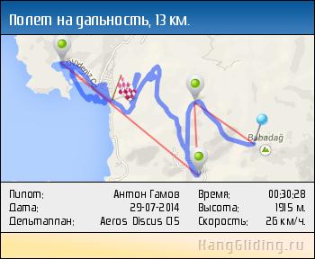 2014-07-29: Полет на дальность, 13.095 км. Дельтаплан: Aeros Discus C15