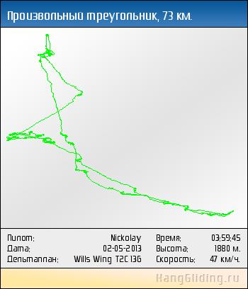 2013-05-02: Произвольный треугольник, 73.468 км. Дельтаплан: Wills Wing T2C 136