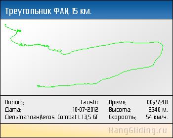 2012-07-10: Треугольник ФАИ, 15 км. Дельтаплан: Aeros Combat L 13,5 GT