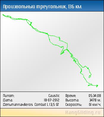 2012-07-18: Произвольный треугольник, 136 км. Дельтаплан: Aeros Combat L 13,5 GT