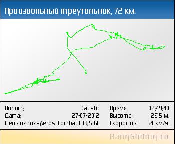 2012-07-27: Произвольный треугольник, 73 км. Дельтаплан: Aeros Combat L 13,5 GT
